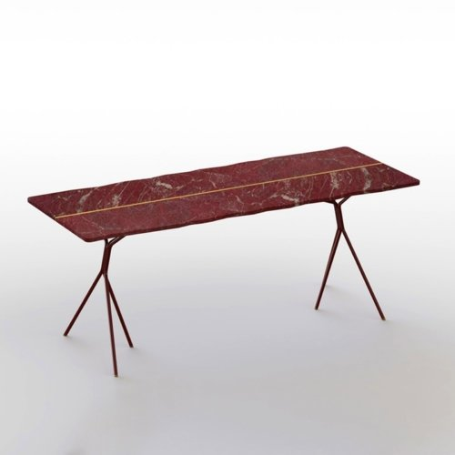 Francesco Meda - Split Table – Red Rupas Marble