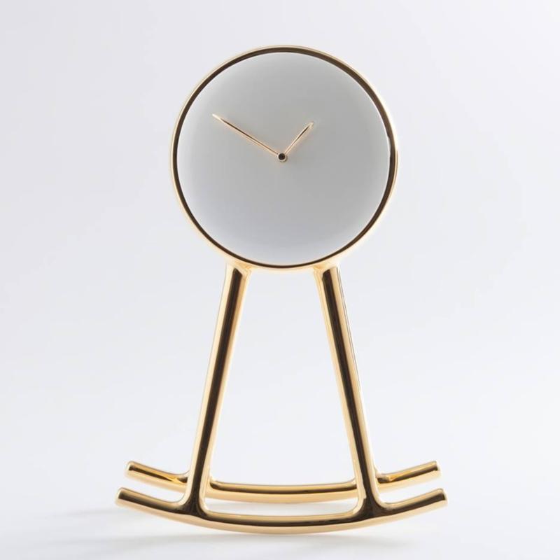 Nika Zupanc - Infinity Clock - Gold and White - for Bosa Ceramiche