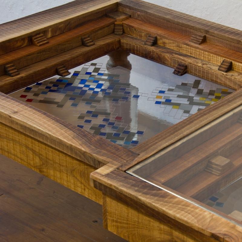 "Hillsideout - Big Mosaiced Coffee Table ""Blue Gold"""