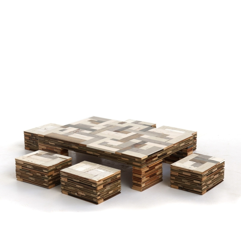 Piet Hein Eek - Waste Scrapwood Coffeecube with Stools