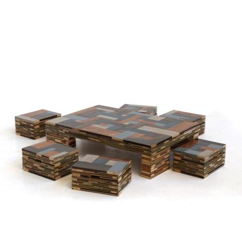Piet Hein Eek - Waste Scrapwood Coffeecube with Stools