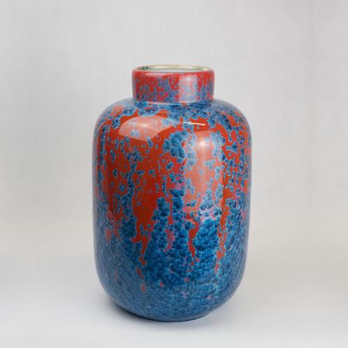 Milan Pekar - Extra Large Crystal Vase - Red and Blue