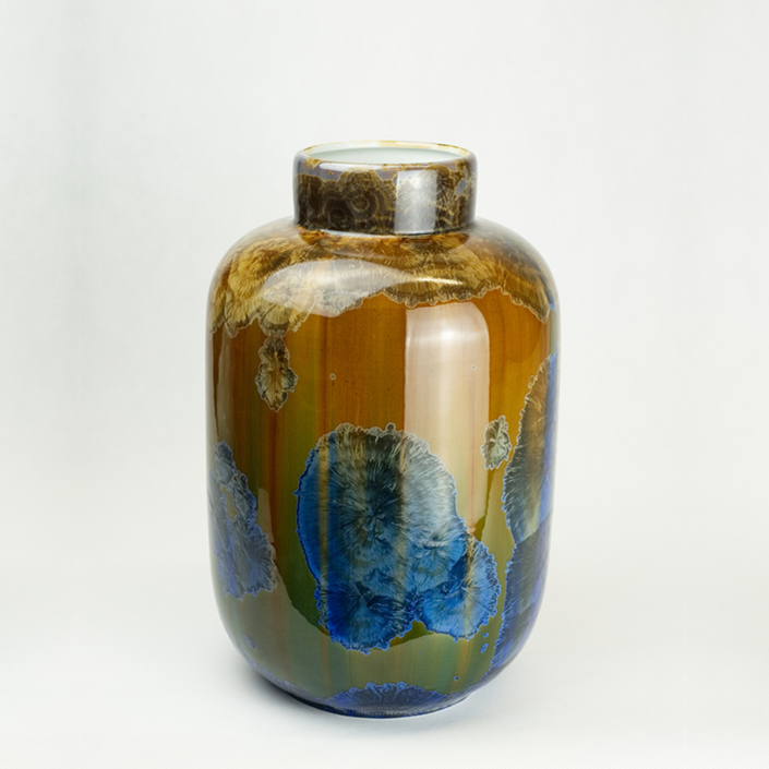 Milan Pekar - Extra Large Crystal Vase - Amber and Blue
