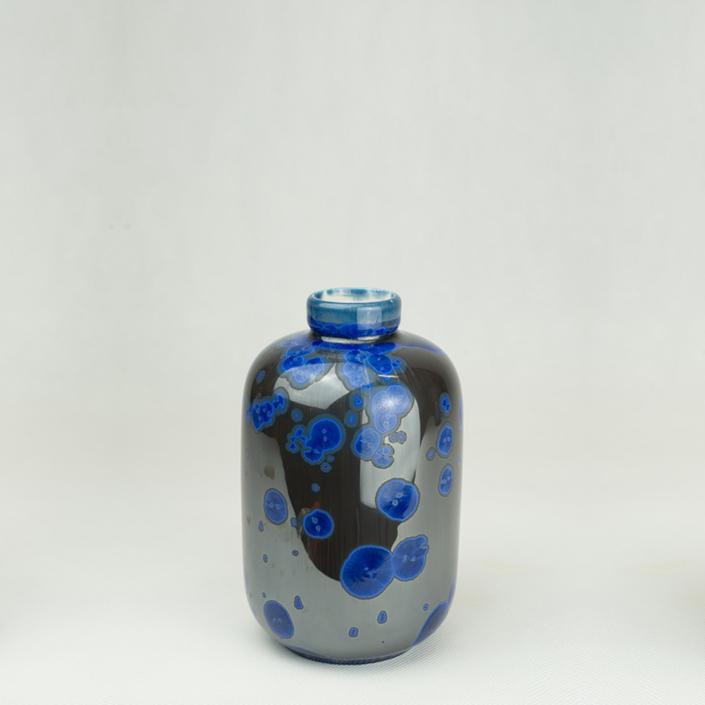 Milan Pekar - Small Crystal Vase - Black and Blue
