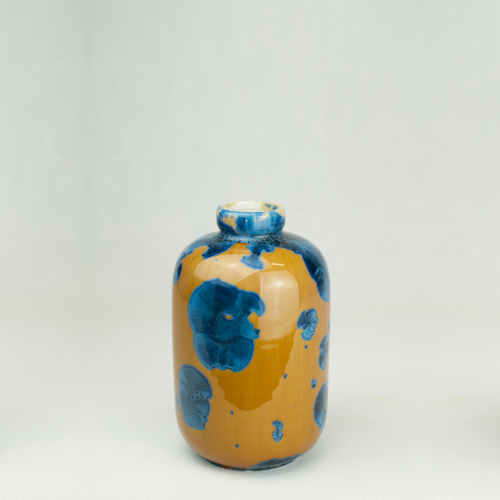 Milan Pekar - Small Crystal Vase - Amber and Blue