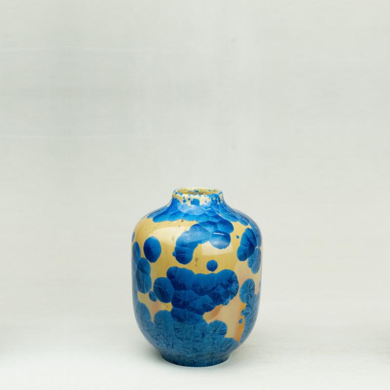 Milan Pekar - Volume 1 Crystal Vase - Amber and Blue