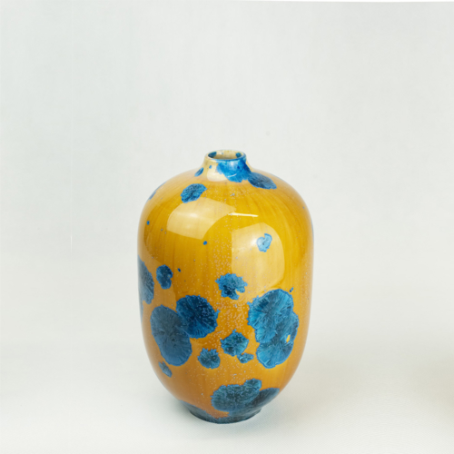 Milan Pekar - Volume 2 Crystal Vase - Amber and Blue