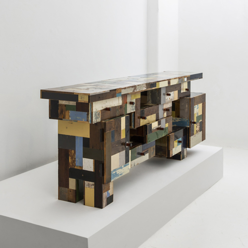Piet Hein Eek - Stacked Volumes Waste Cupboard in Scrapwood