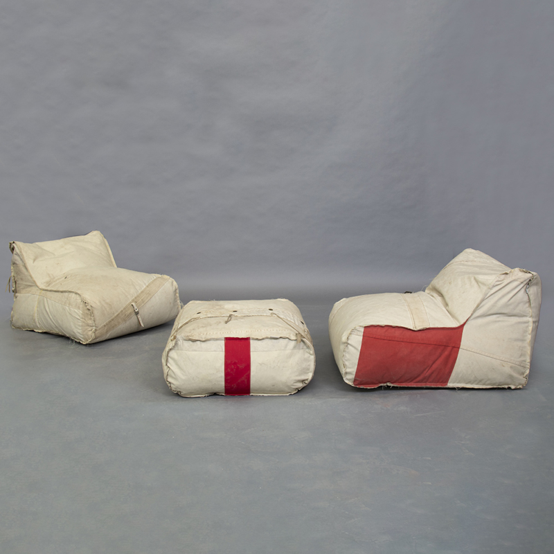Piet Hein Eek - Bag Chair and Pouf in Red Cross Fabric